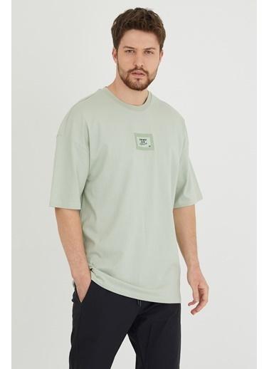 XHAN Mint Baskılı Oversize T-Shirt  Yeşil
